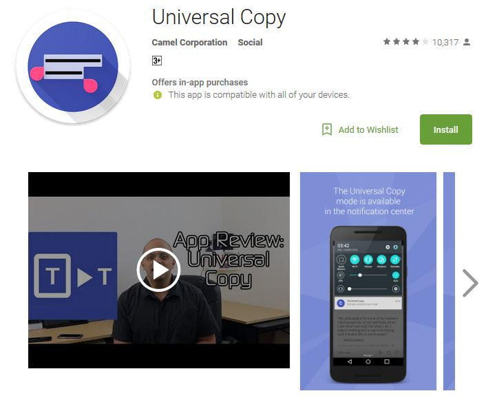 Top 6 Best Android Apps for 2018, Universal Copy